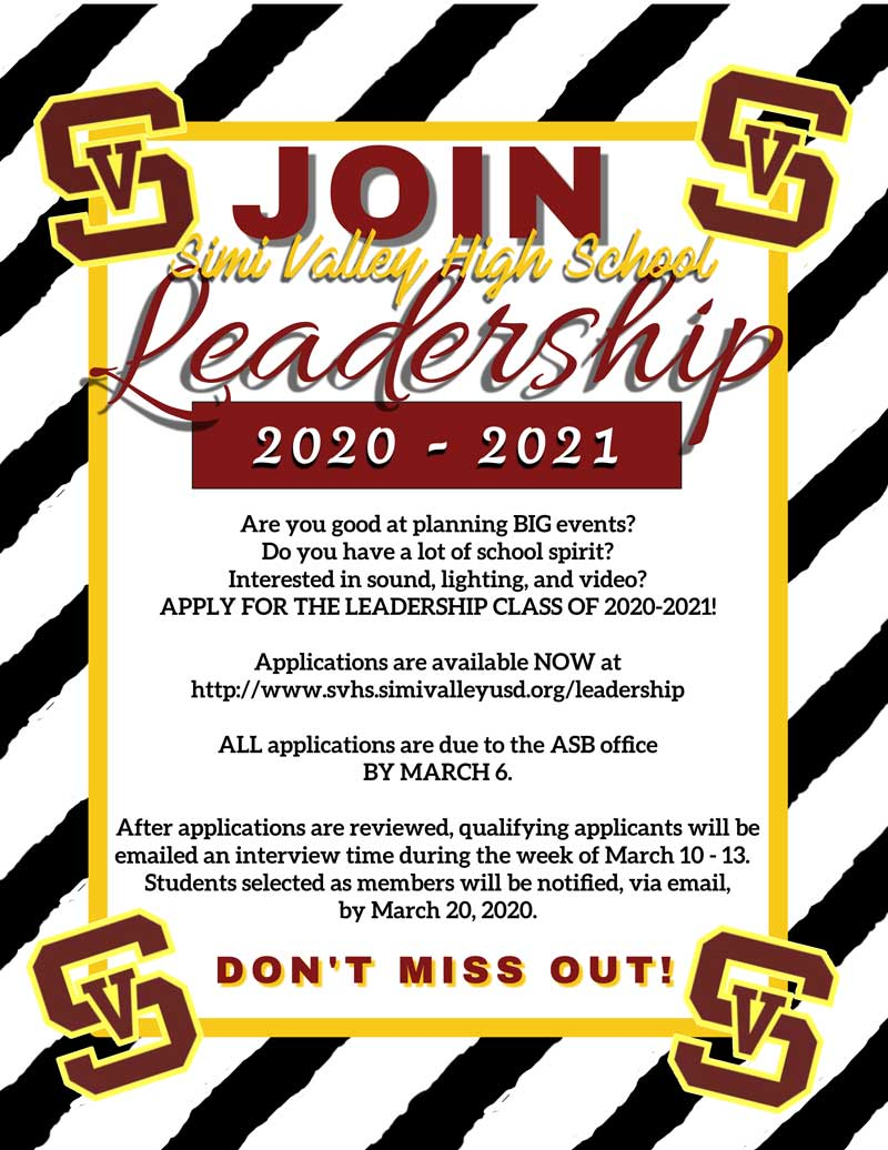 Leadership 2020-2021 -- Apply by March 6th!