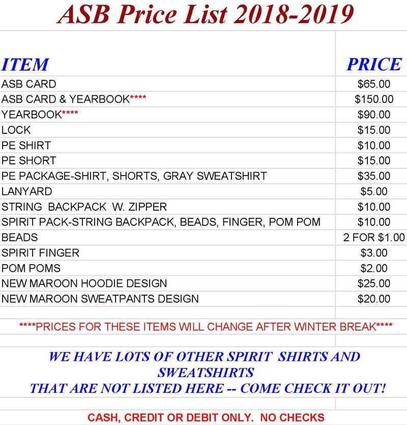 ASB Price List 18-19
